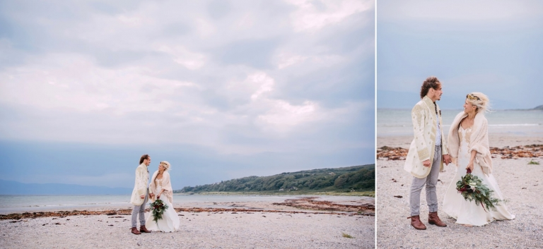 sle of bute wedding photography bride and groom on beach