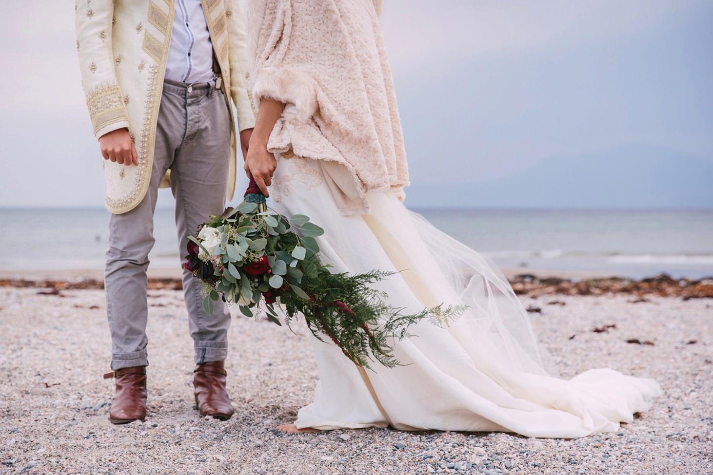 sle of bute wedding photography bride and groom feet
