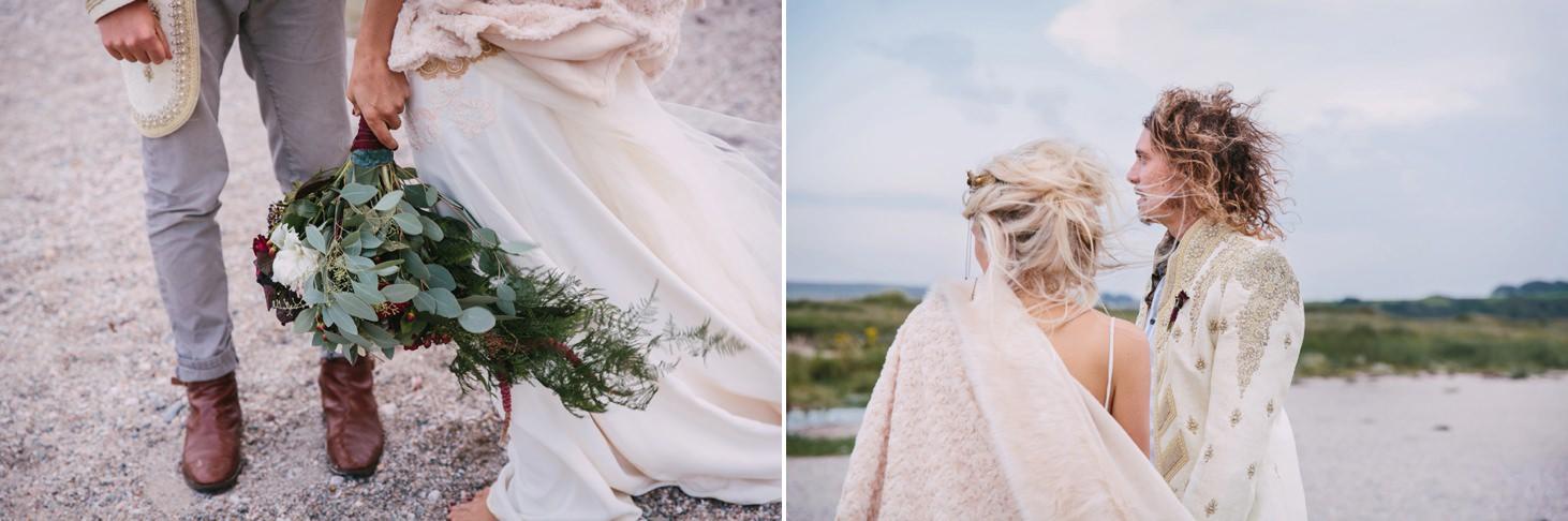 sle of bute wedding photography bride and groom beach