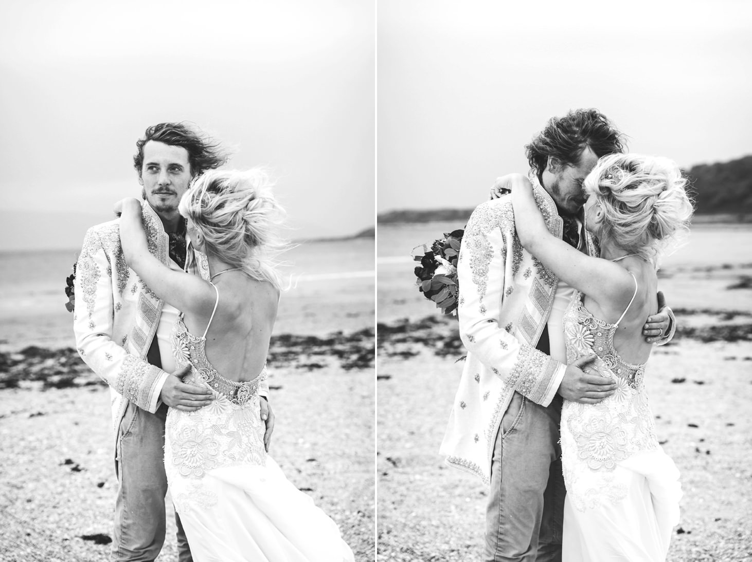 sle of bute wedding photography groom and bride hug