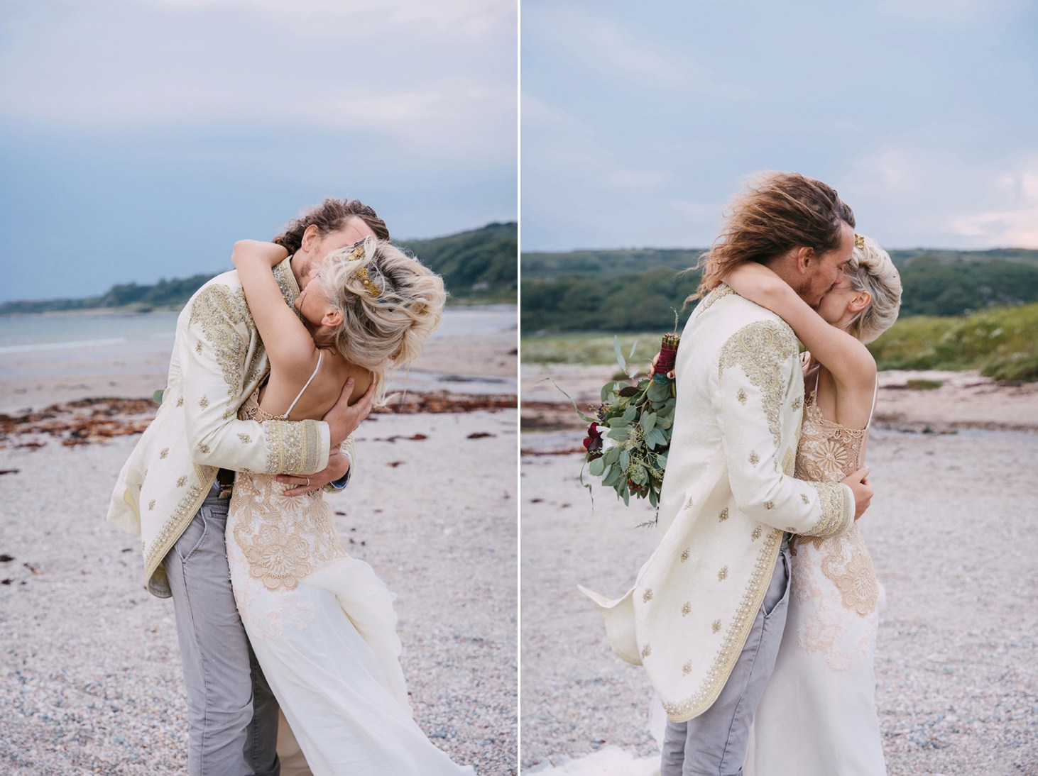 sle of bute wedding photography bride and groom cuddle
