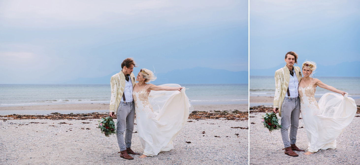 sle of bute wedding photography windy beach