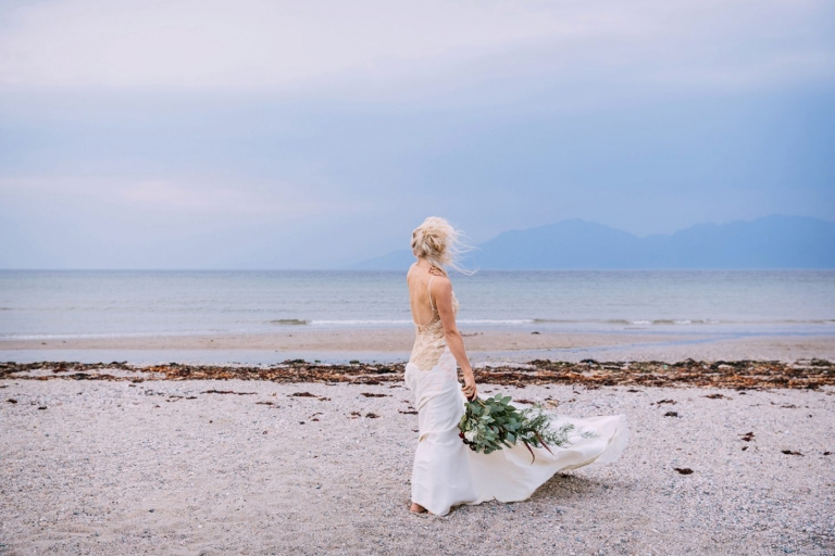 sle of bute wedding photography bride on the beach