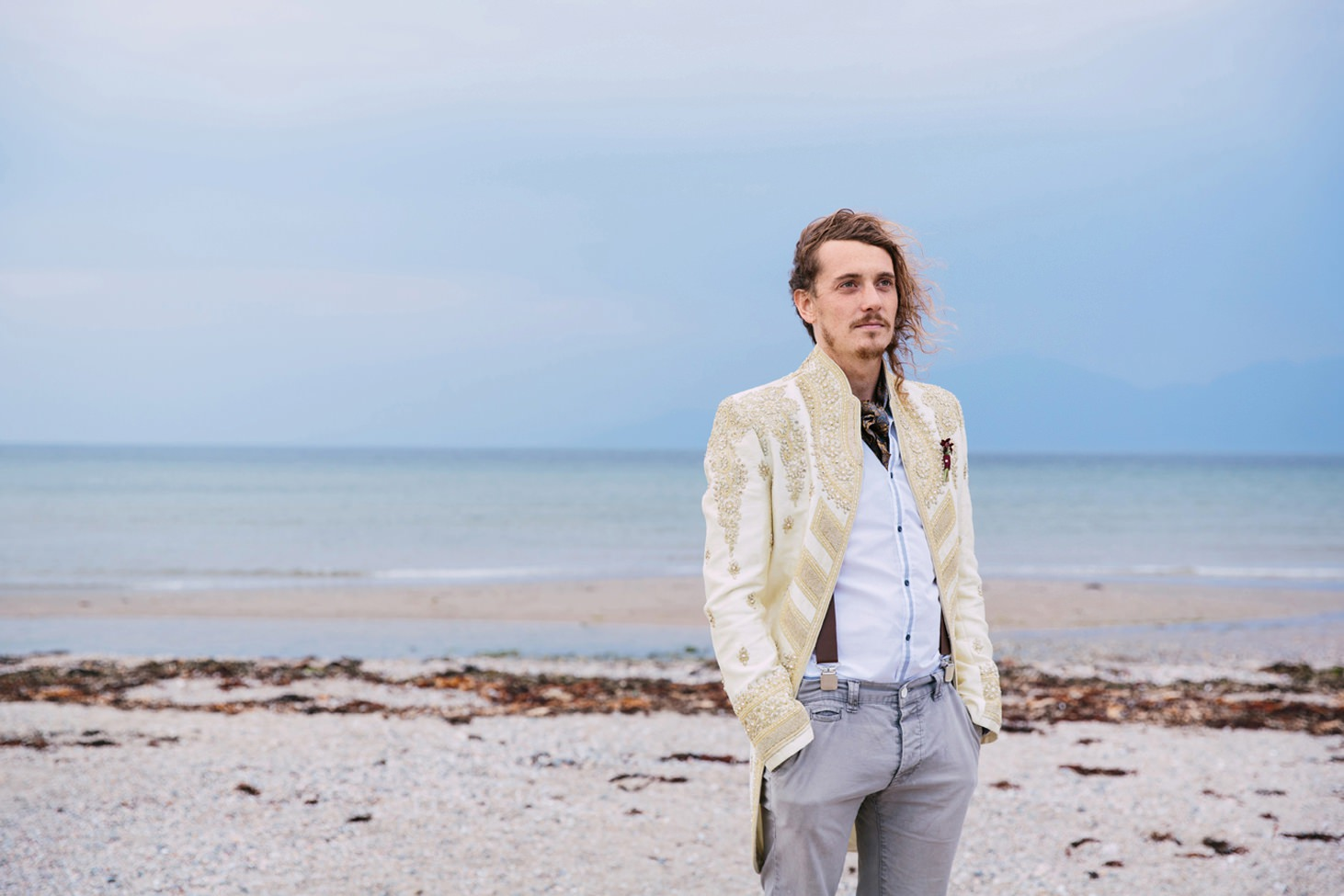 sle of bute wedding photography groom on beach