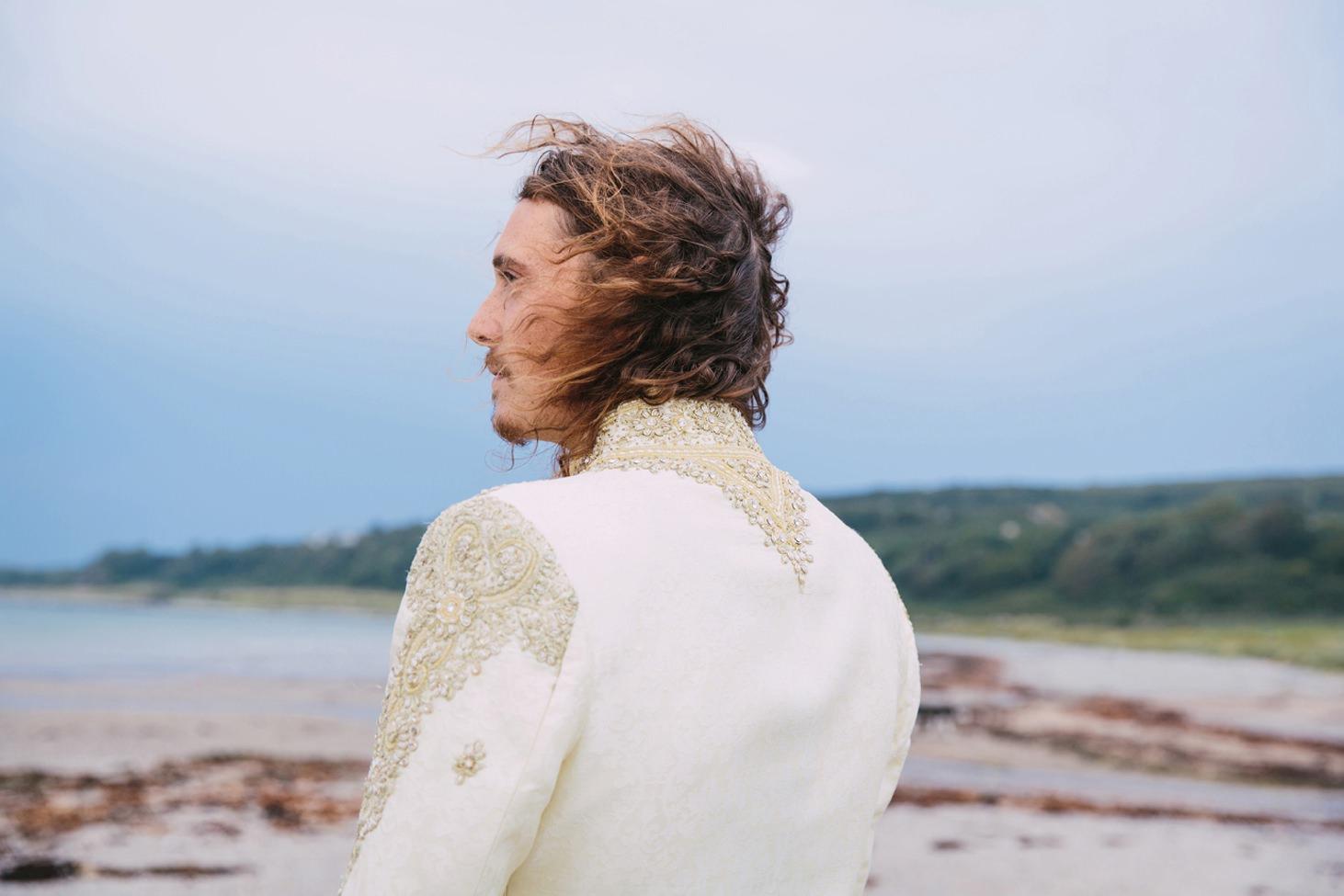 sle of bute wedding photography back of grooms jacket