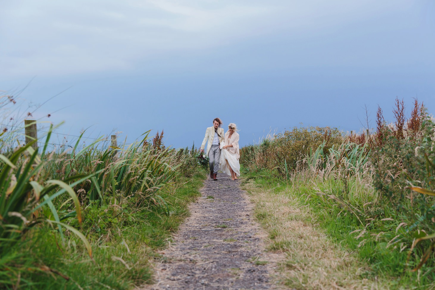 sle of bute wedding photography bride and groom on path
