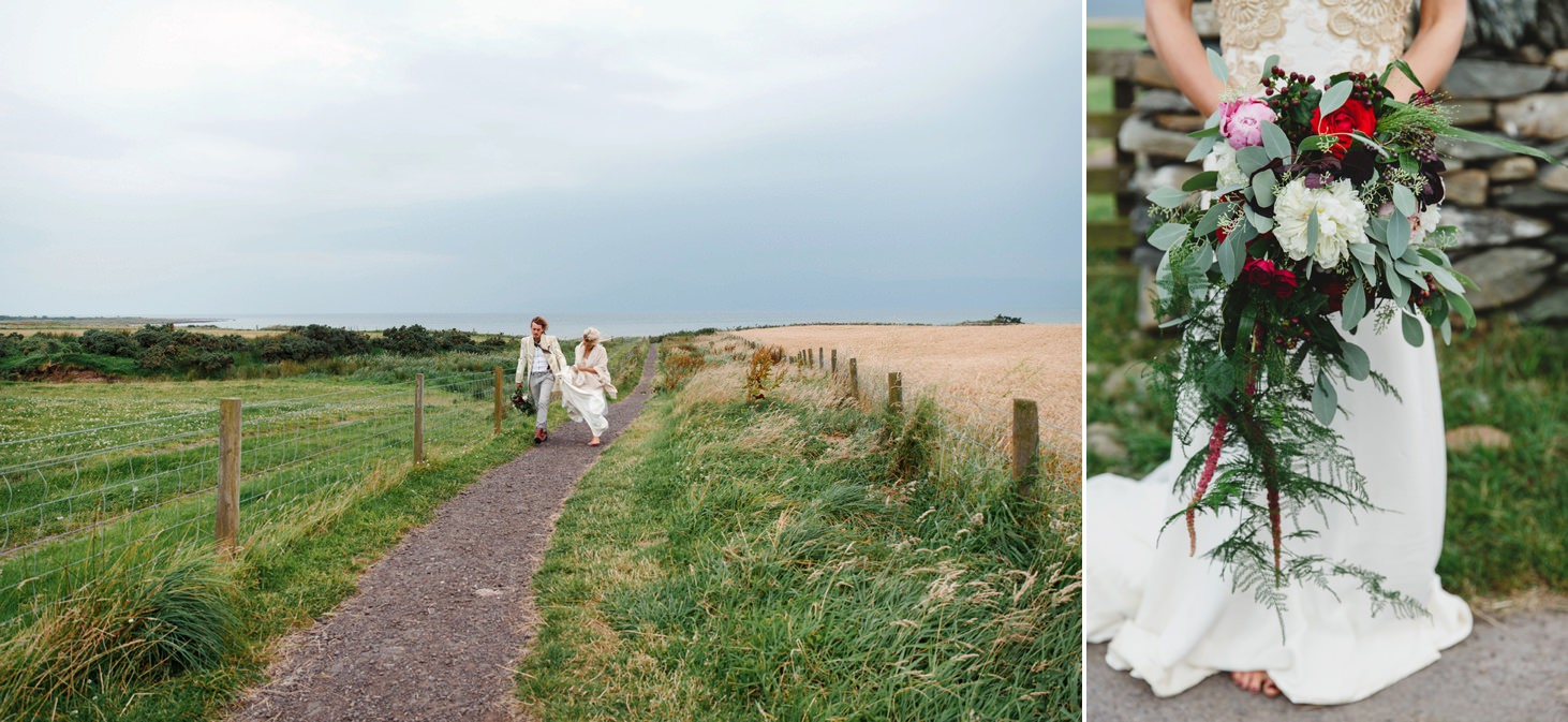 sle of bute wedding photography bride and groom walking