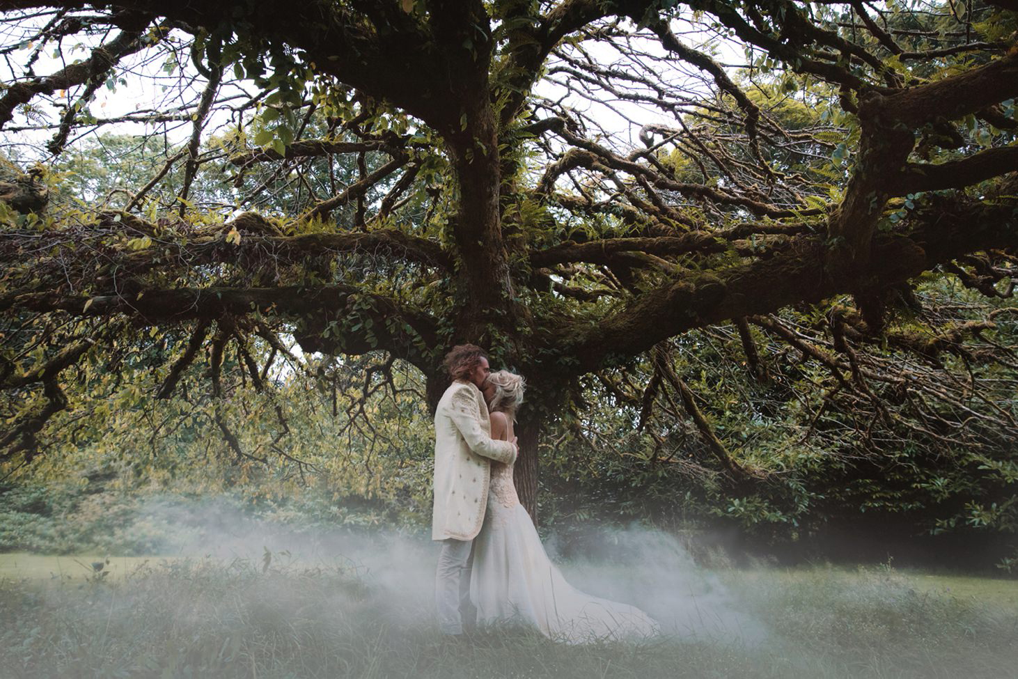 sle of bute wedding photography bride and groom in fog
