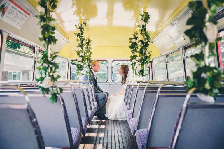 sarah ann wright wedding couple vintage bus