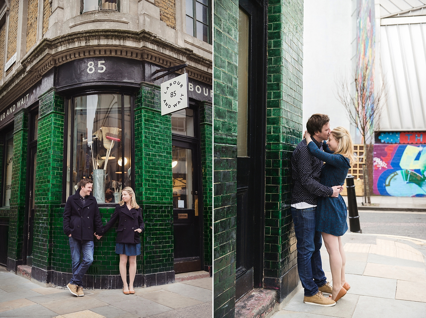 shoreditch engagement photography hugging couple