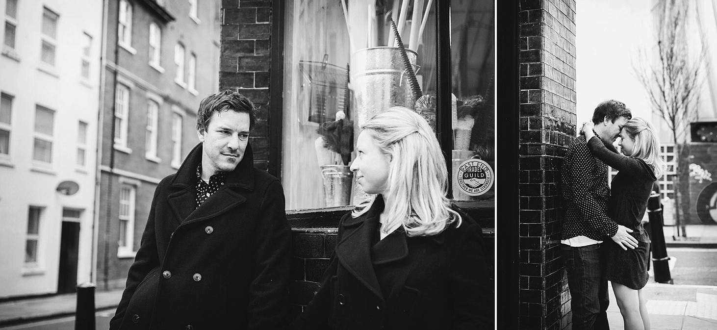 shoreditch engagement photography couple look at each other
