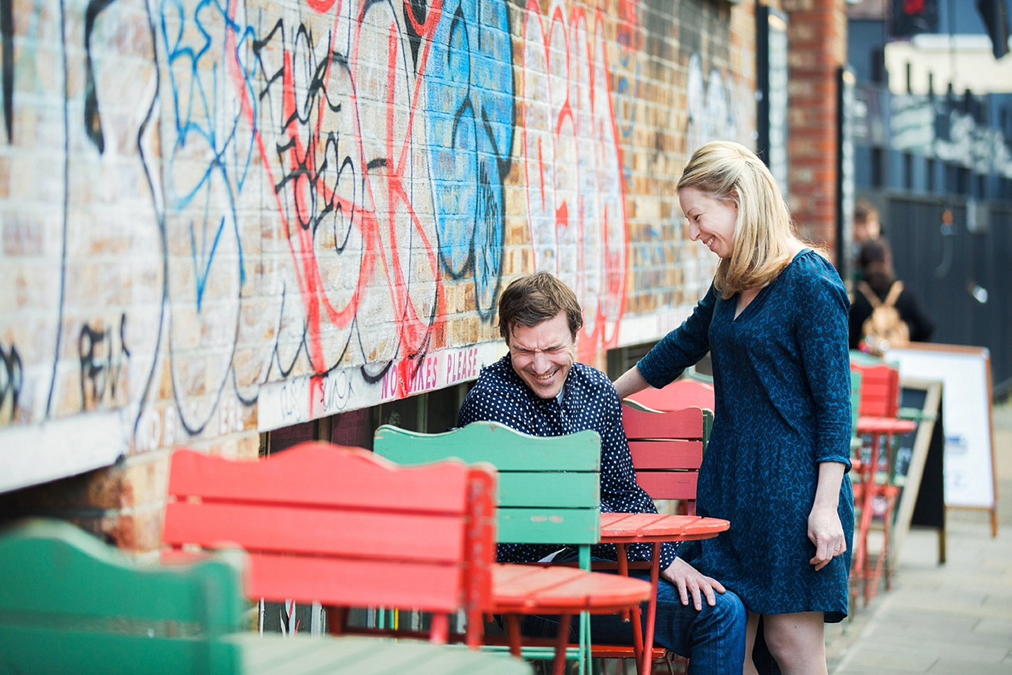 shoreditch engagement photography couple laughing