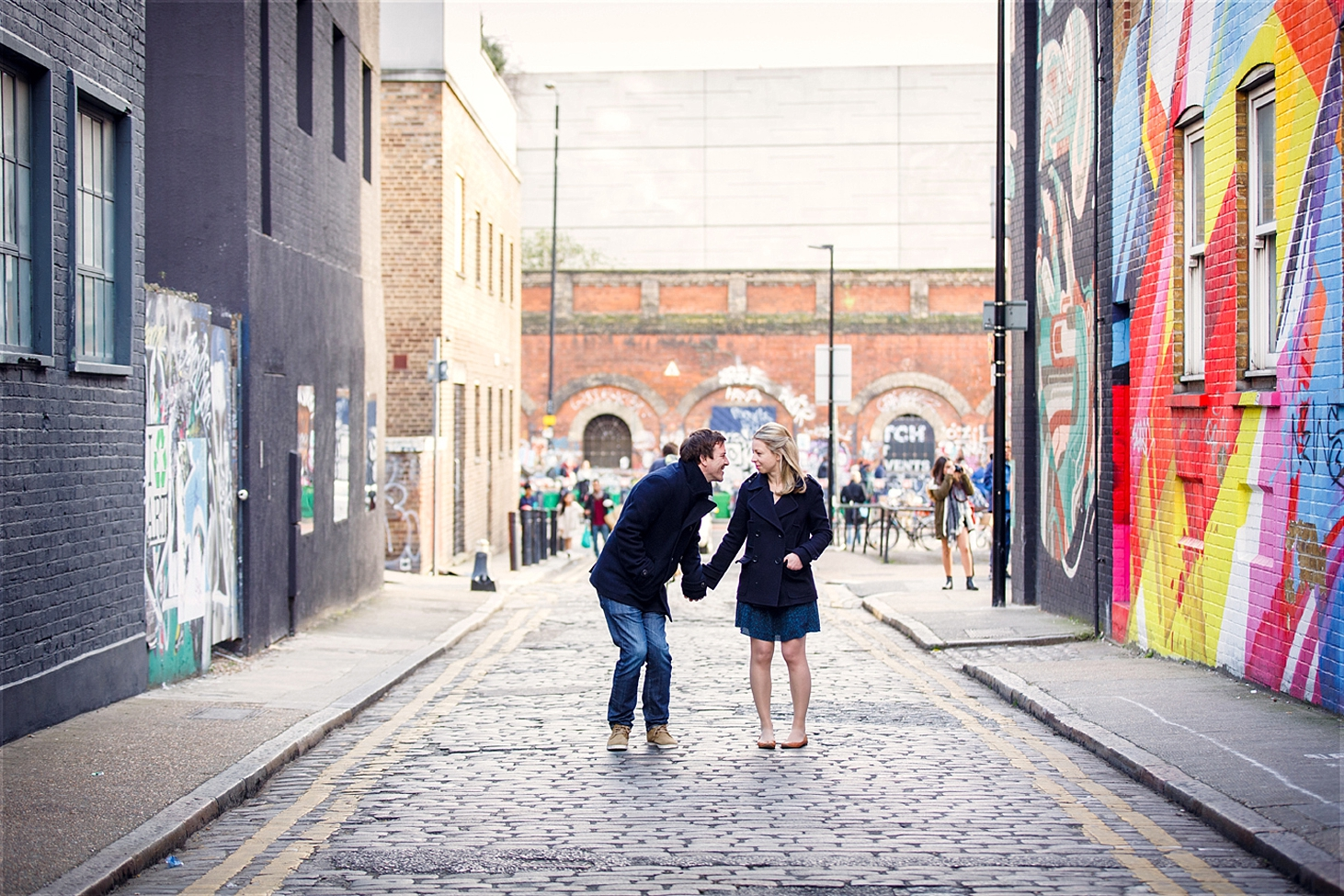 shoreditch engagement photography couple in street