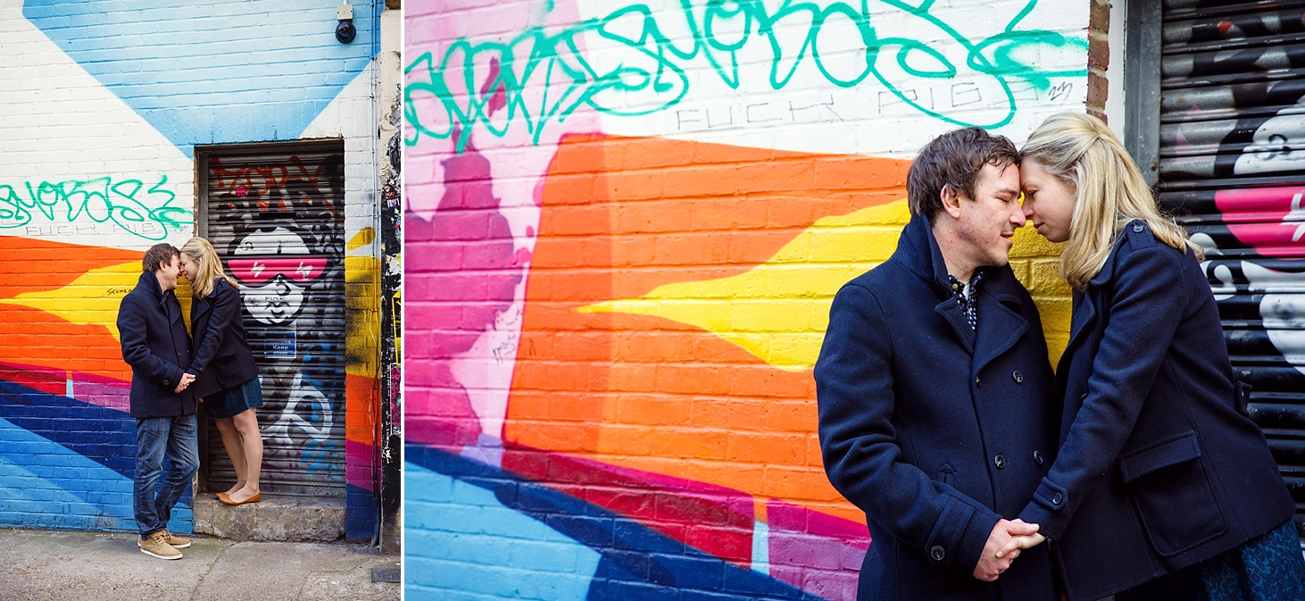 shoreditch engagement photography couple colour wall