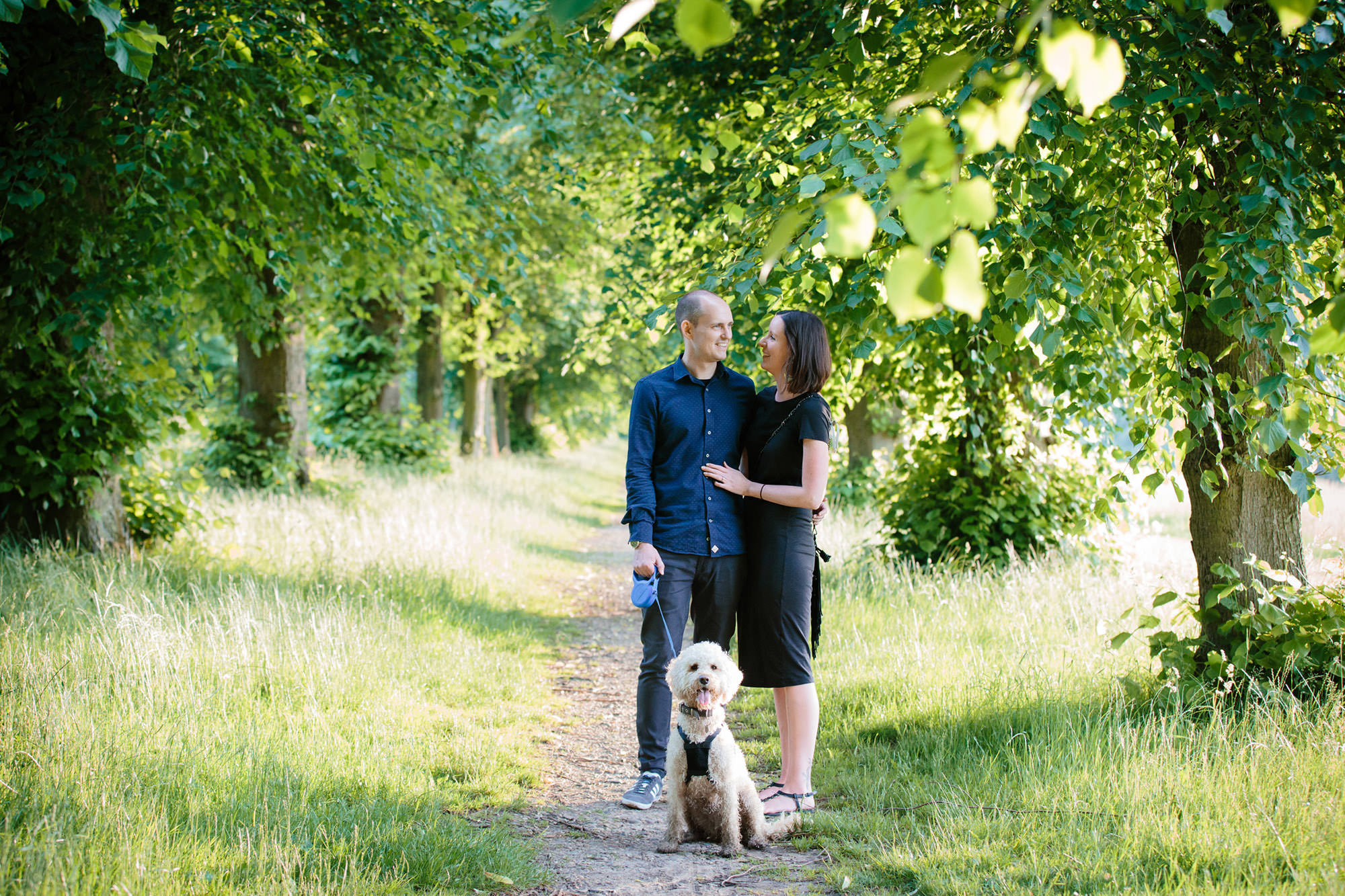 fun engagement shoot couple with dog