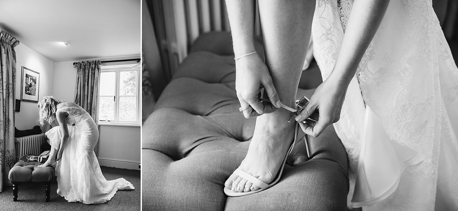 cotswolds wedding bride putting on shoes