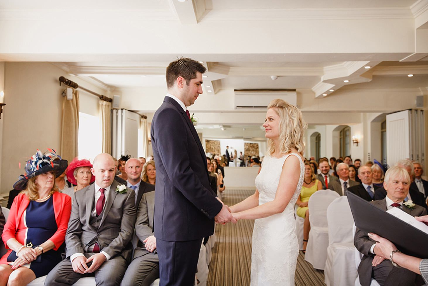 cotswolds wedding bride and groom exchange vows