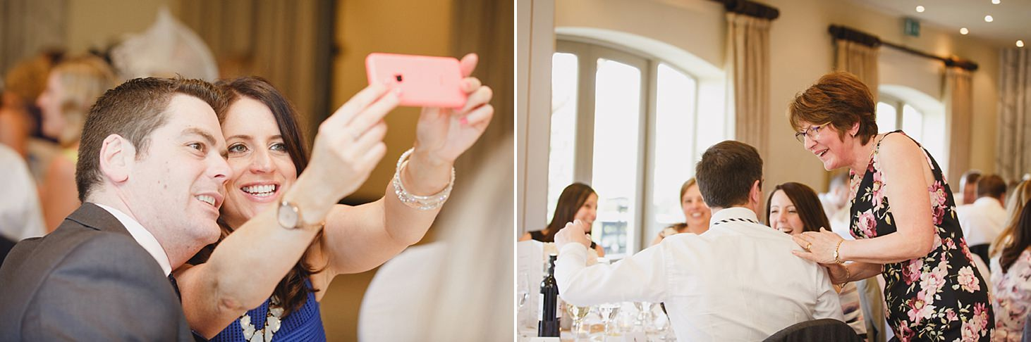 cotswolds wedding guests taking selfie