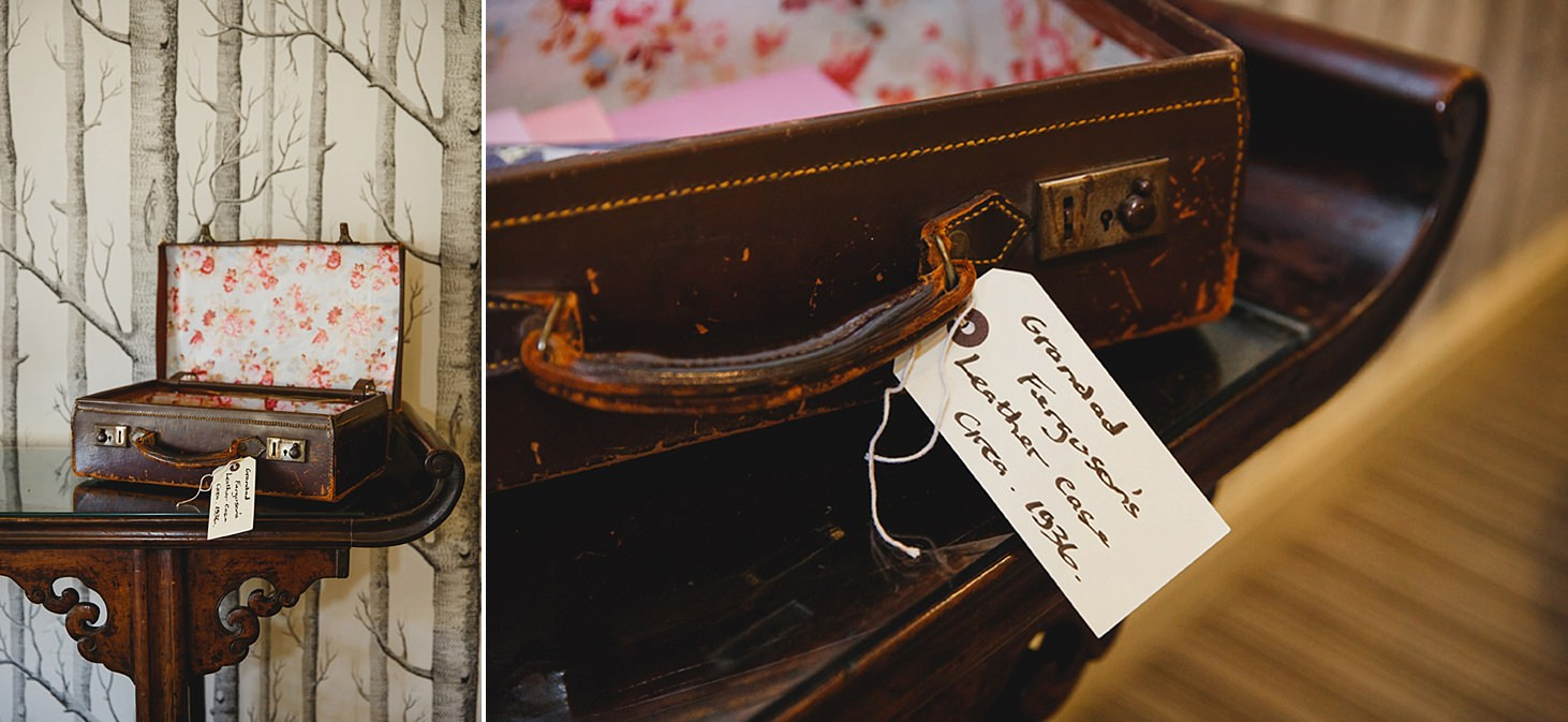 cotswolds wedding vintage suitcase