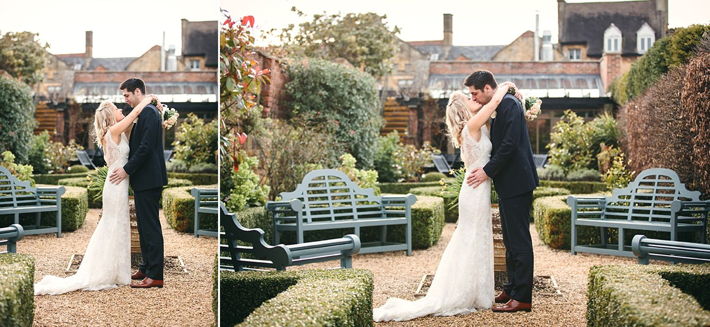 cotswolds wedding bride and groom kiss