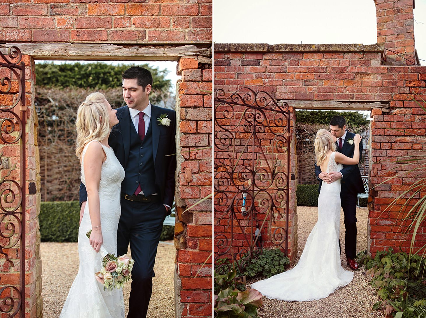 cotswolds wedding bride and groom by brick wall