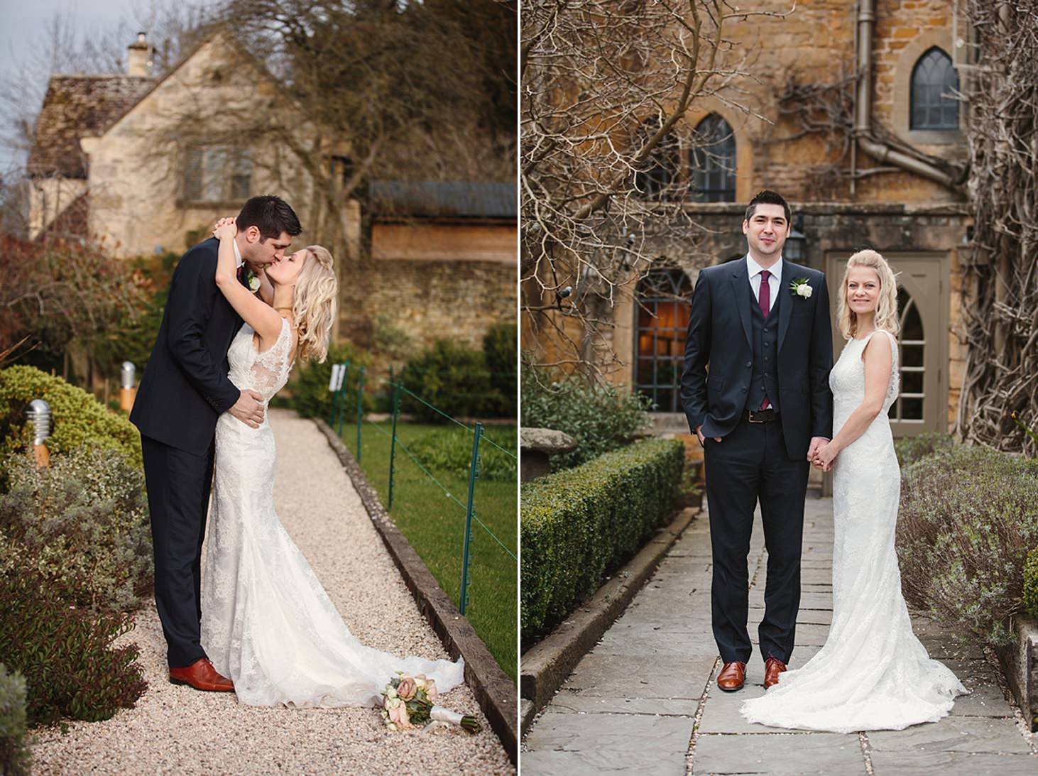 cotswolds wedding bride and groom together