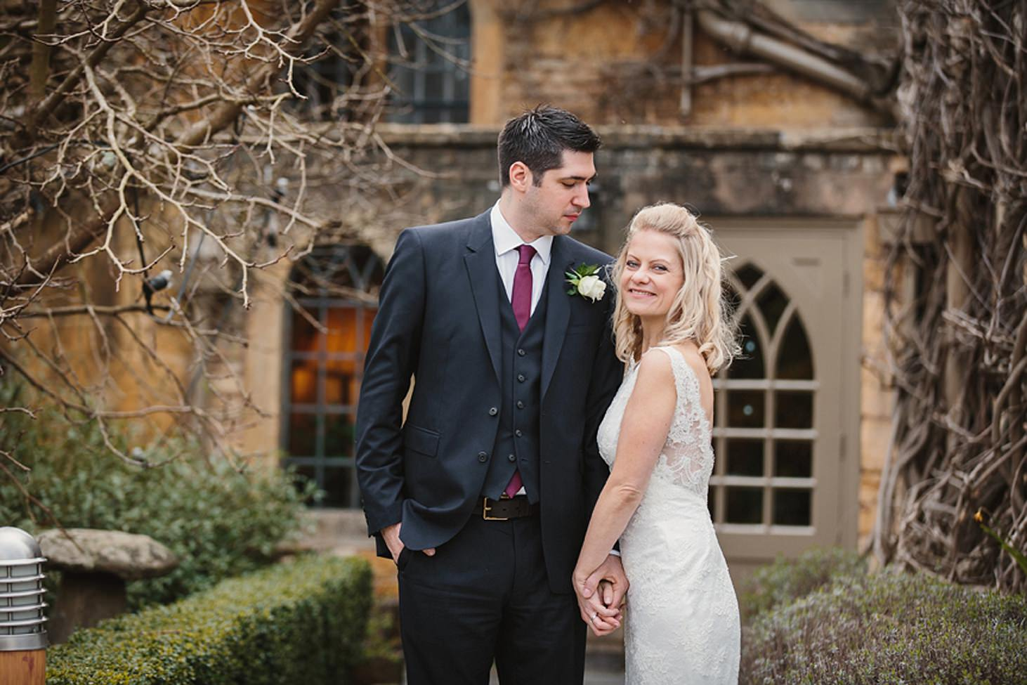 cotswolds wedding wedding portrait at the manor house hotel