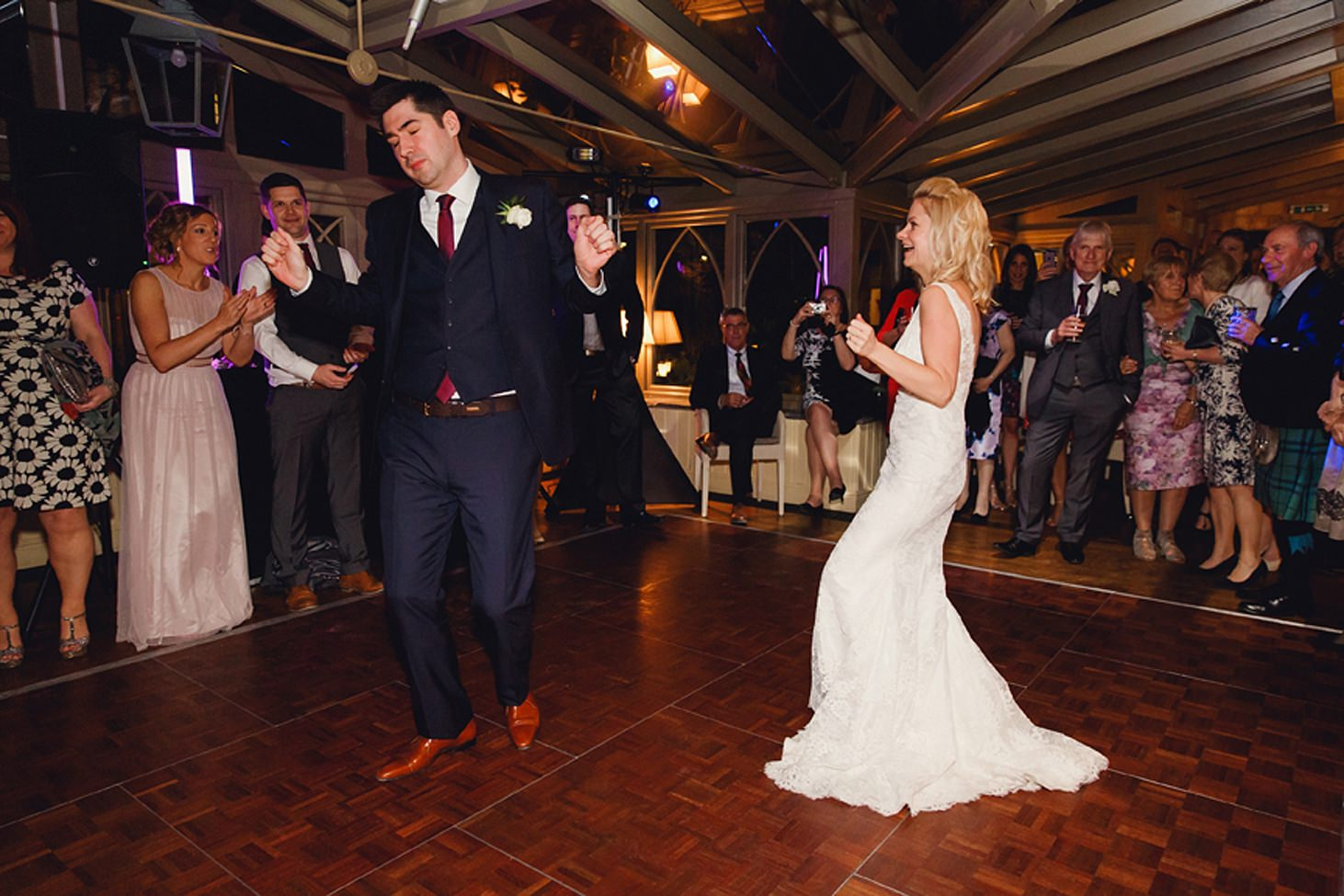 cotswolds wedding fun bride and groom dance