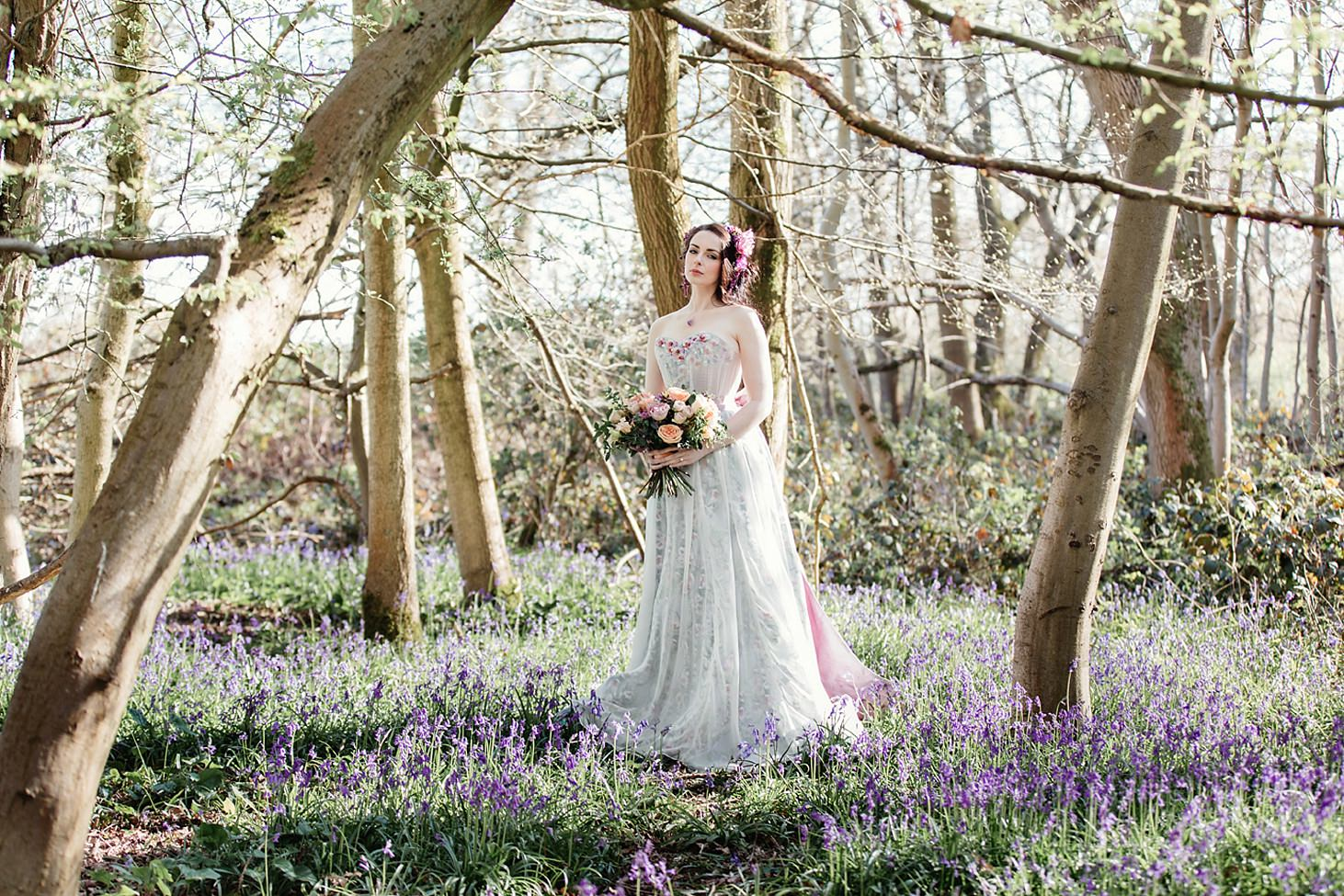 spring bride wedding shoot bluebells