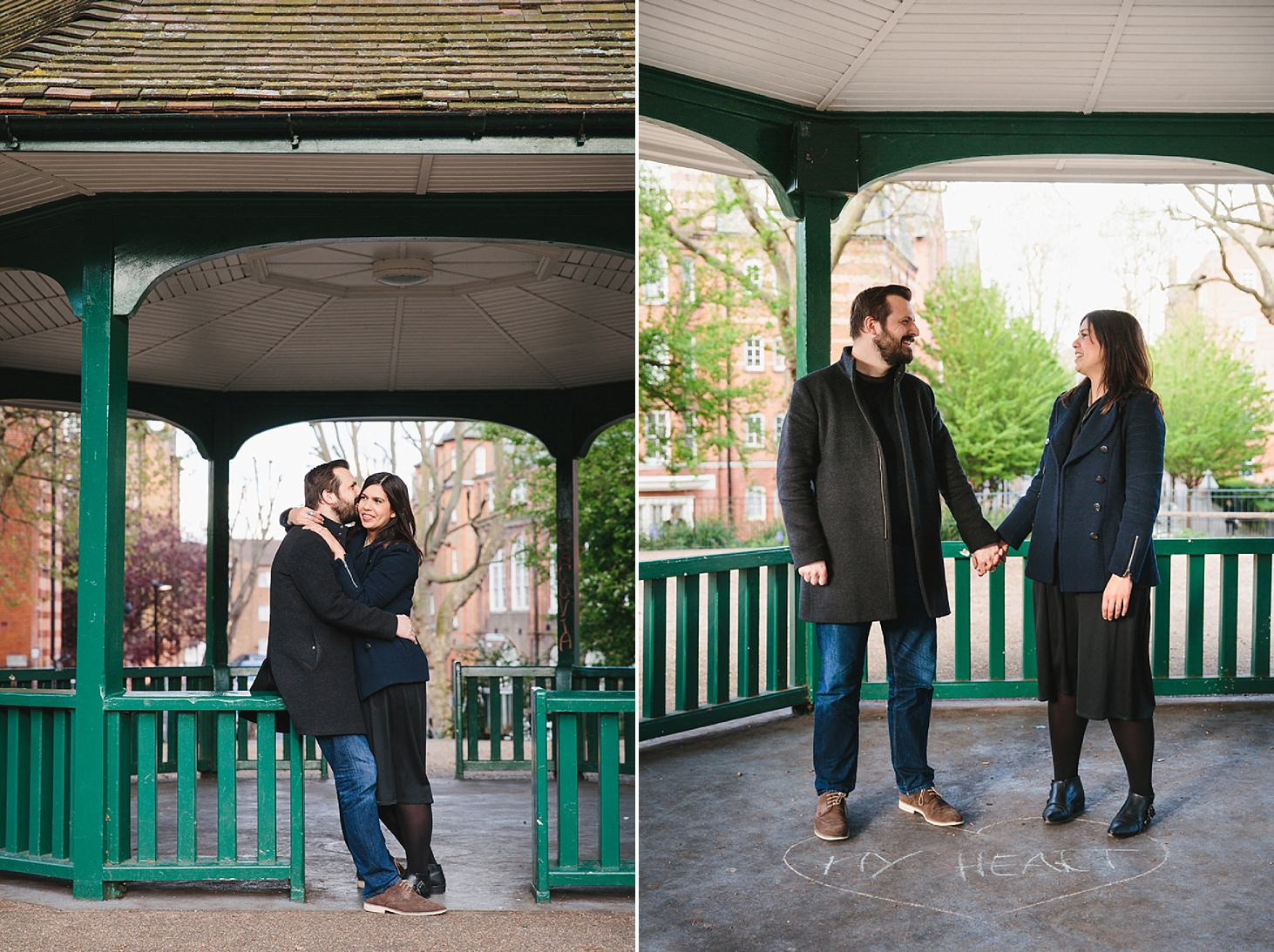 shoreditch engagement shoot couple in bandstand