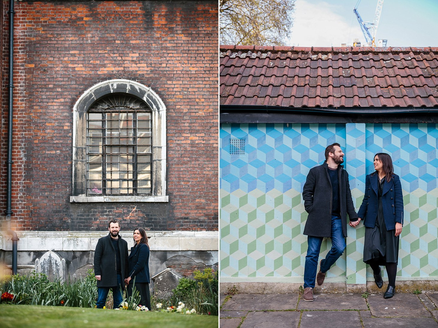 shoreditch engagement shoot couple by church