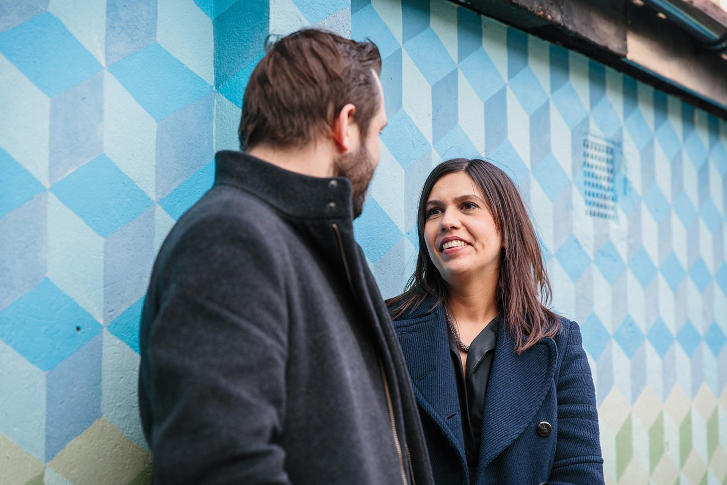 shoreditch engagement shoot couple and blue wall