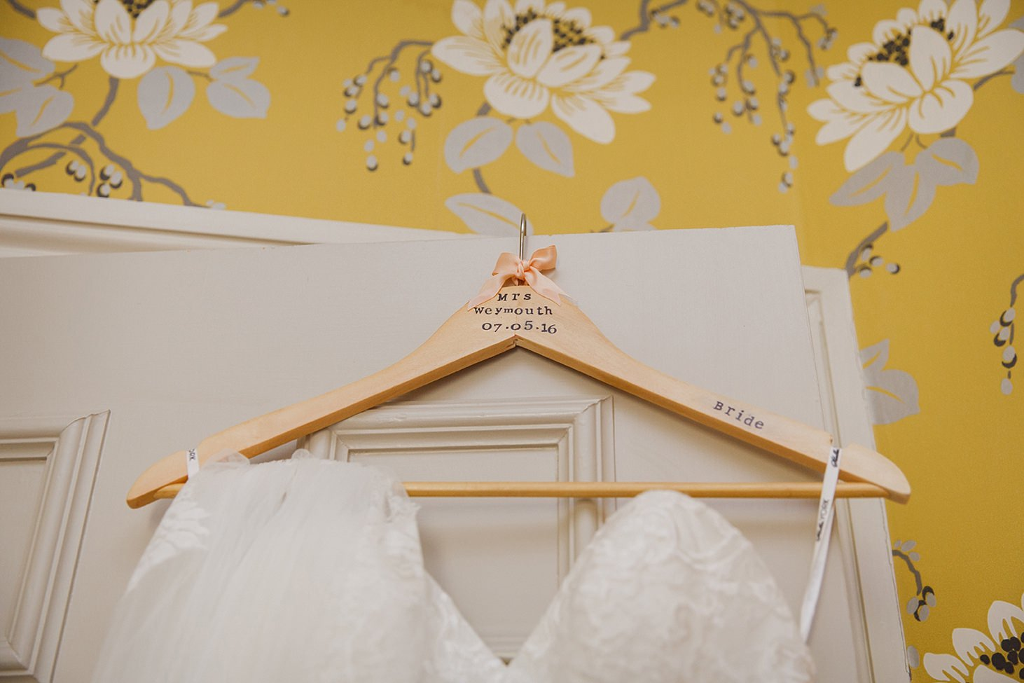 richmond hill wedding photography bride's dress hanger