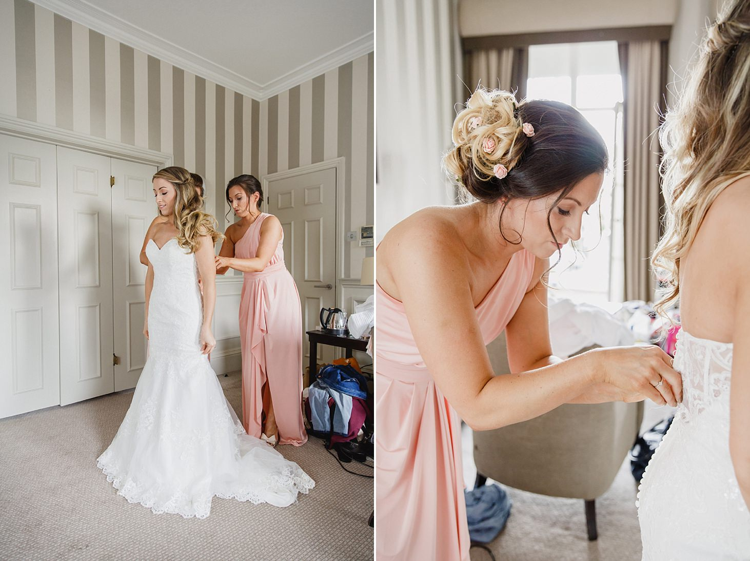 richmond hill wedding photography bride getting in dress