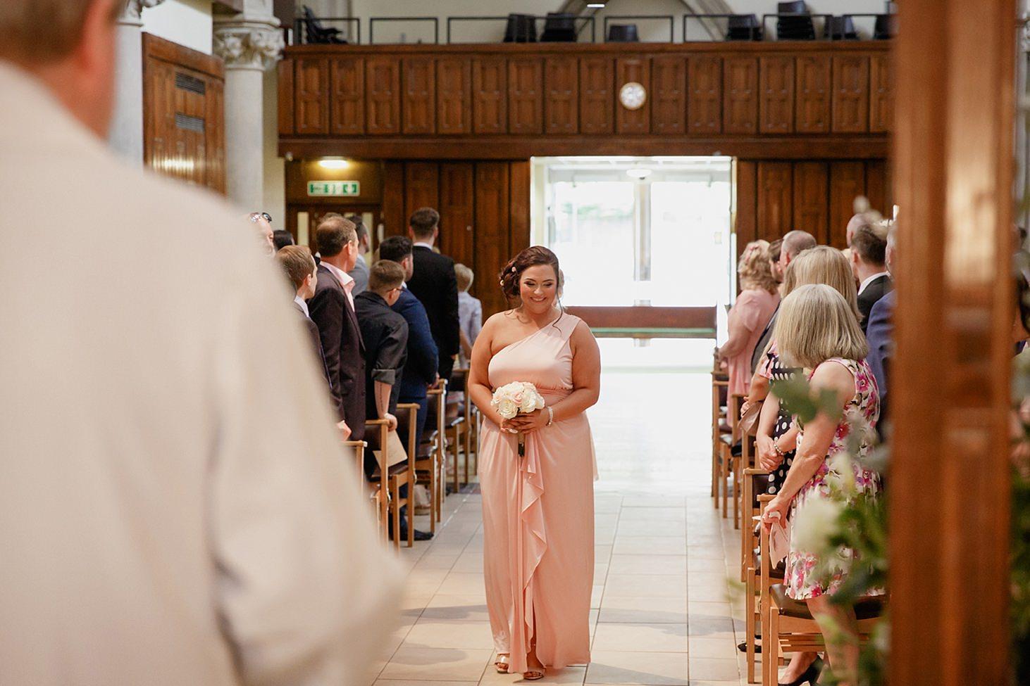 richmond hill wedding photography bridesmaid walking down aisle