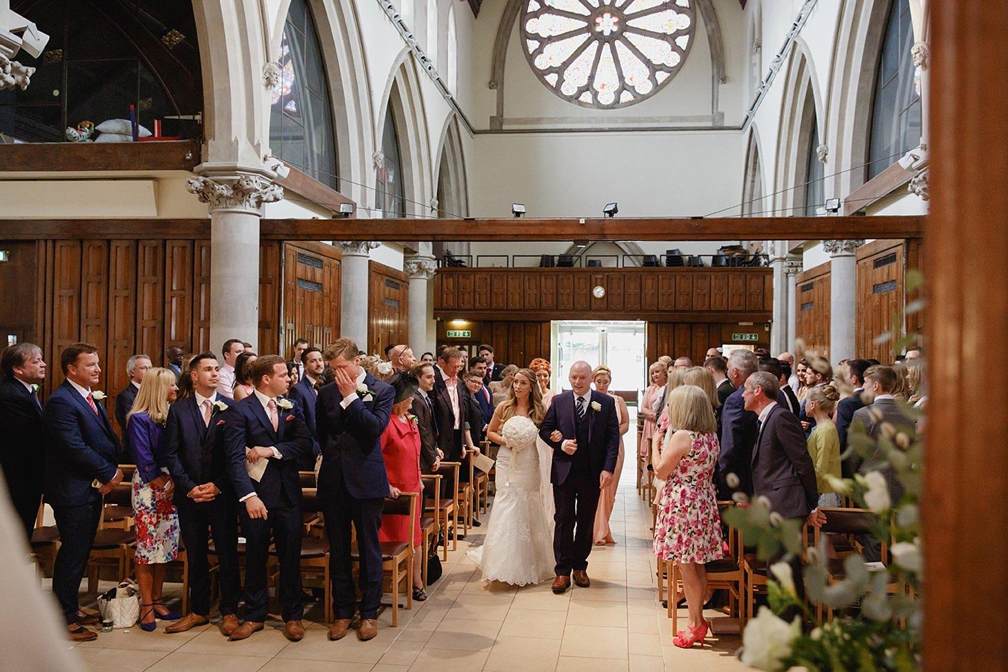 richmond hill wedding photography bride walking down church aisle