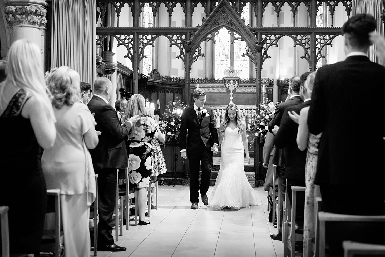 richmond hill wedding photography bride and groom walking down aisle