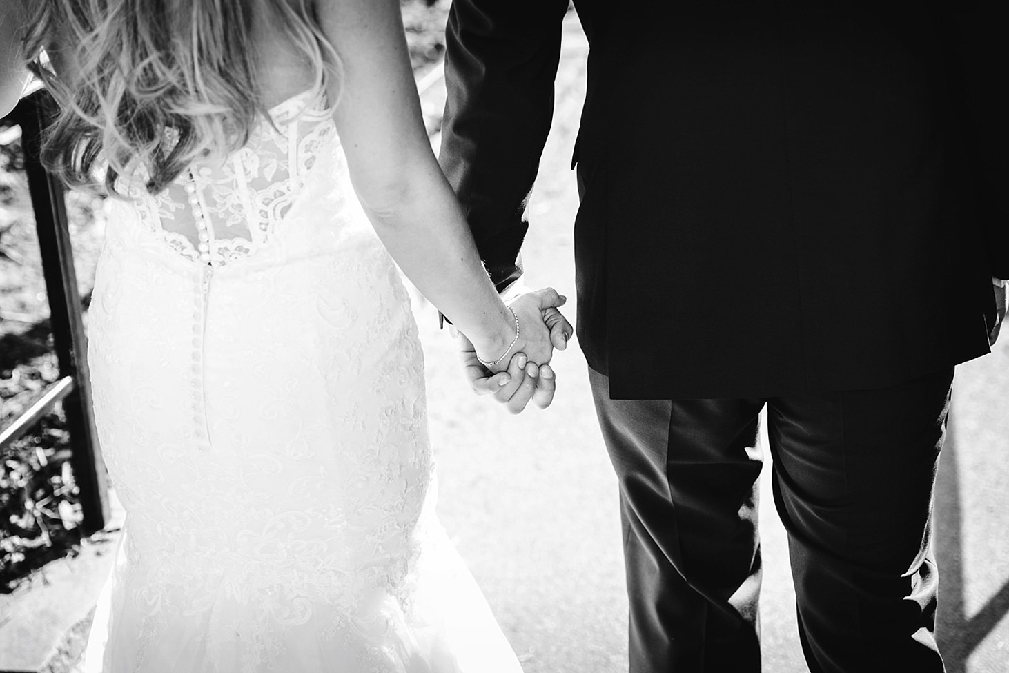 richmond hill wedding photography bride and groom hold hands