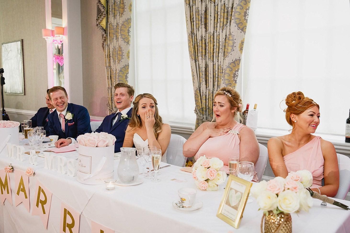 richmond hill wedding photography bride reaction to speech