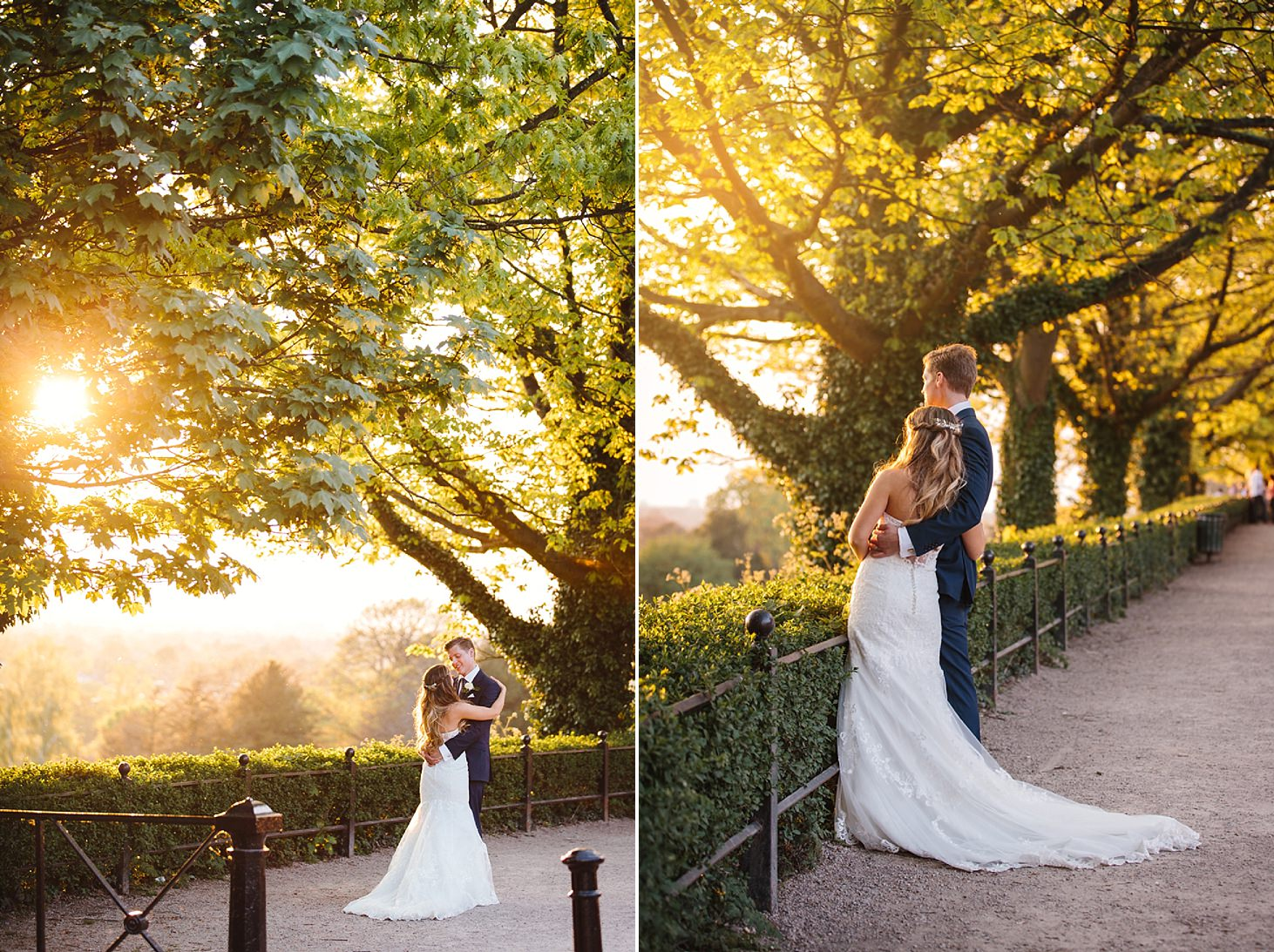 richmond hill wedding photography bride and groom at sunset