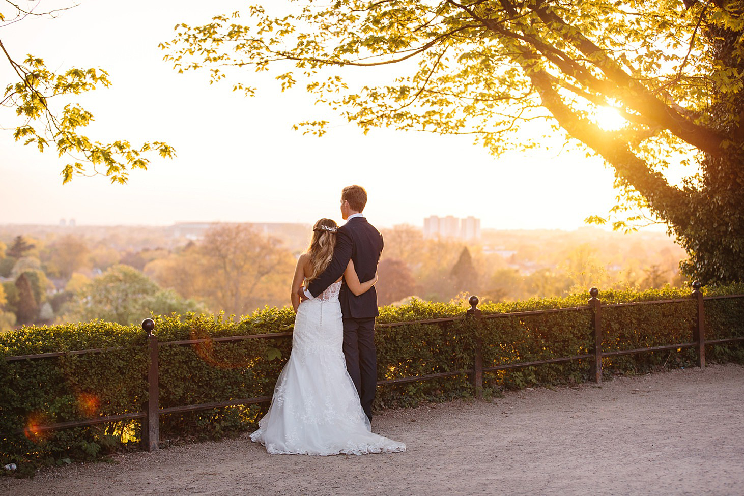 richmond hill wedding photography bride and groom with terrace view