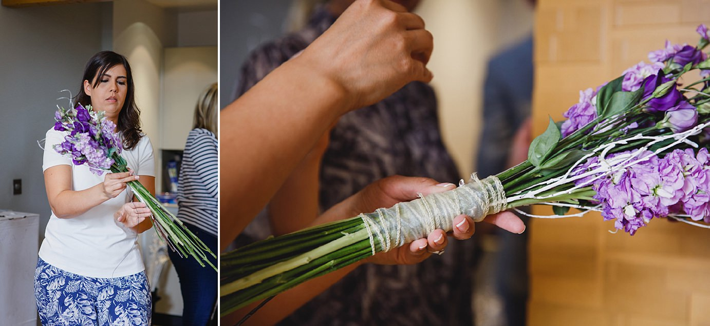 Londesborough pub wedding photography wedding photography tying bouquet