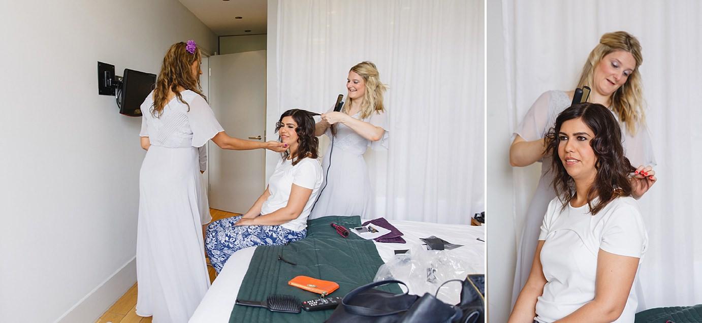 Londesborough pub wedding photography wedding photography bride having hair done