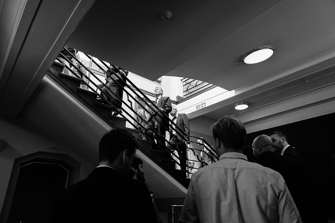 Londesborough pub wedding photography wedding guests on stairs