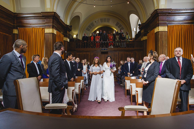 Londesborough pub wedding photography bride walking down aisle
