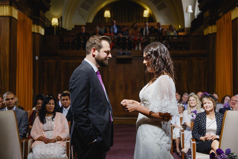 Londesborough pub wedding photography bride reading wedding vows
