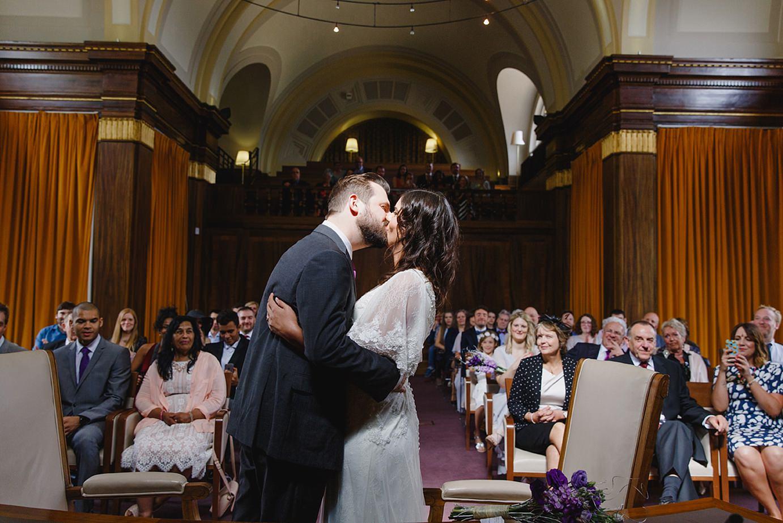 Londesborough pub wedding photography bride and groom first kiss