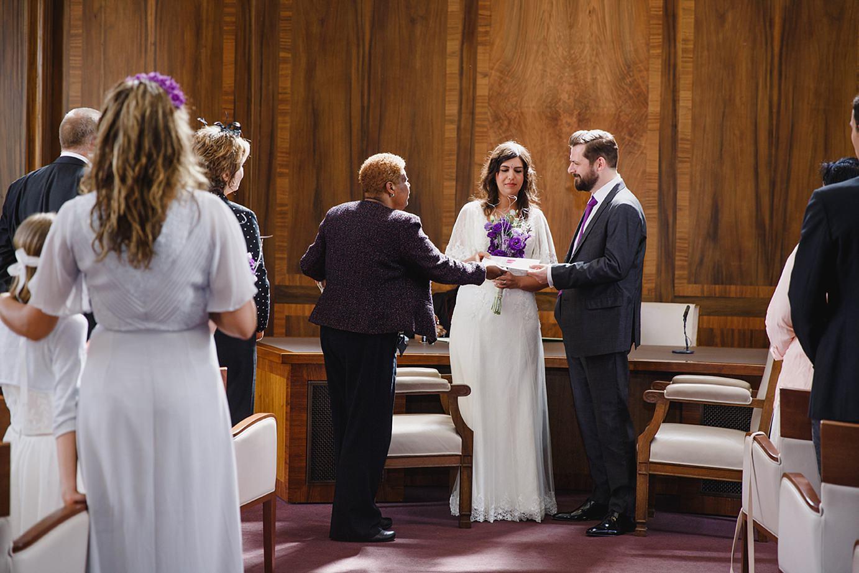 Londesborough pub wedding photography bride and groom receive wedding certificate