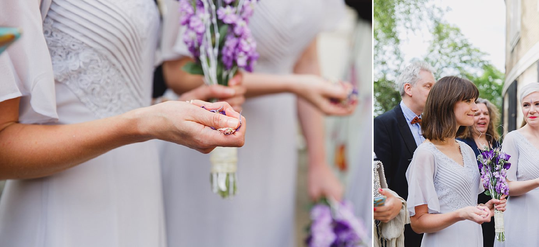Londesborough pub wedding photography bridesmaids with confetti