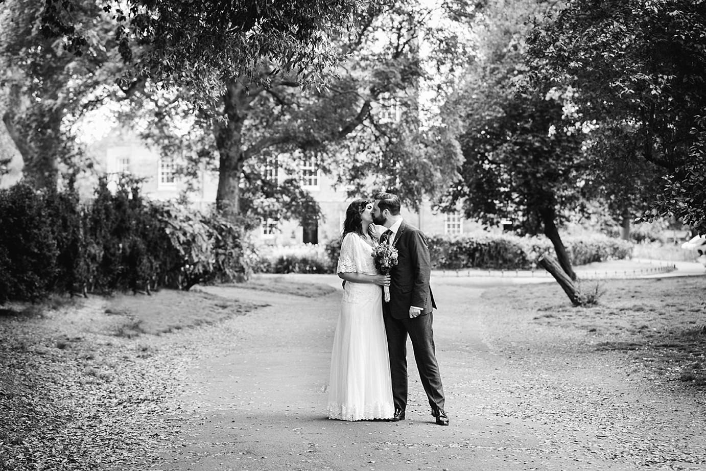 Londesborough pub wedding photography bride and groom kiss